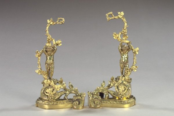 17: Large Pair of French Polished Brass Chenets,
