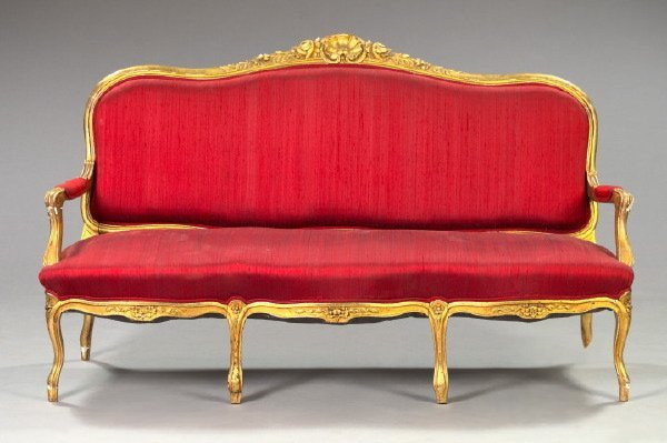 19: Three-Piece Louis XV-Style Giltwood Salon Suite
