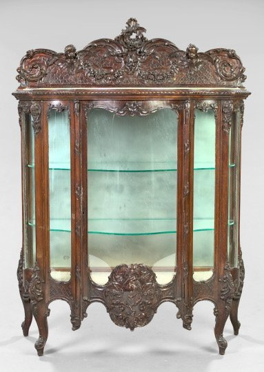 21: Louis XV-Style Dark-Stained China Cabinet,
