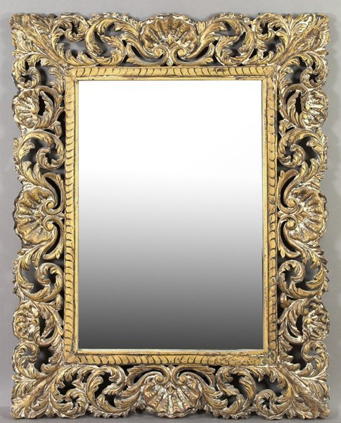 22: Large Italian Carved and Gilded Wooden Mirror