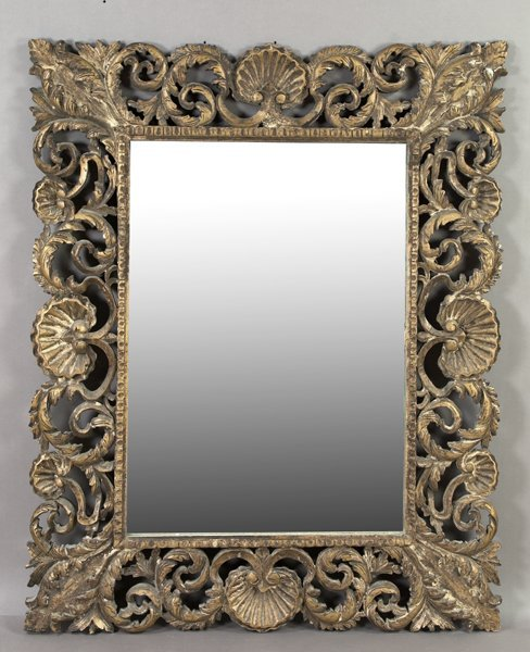 23: Large Italian Elaborately Carved Giltwood Mirror