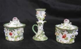 80 Fine English ThreePiece Porcelain Desk Set