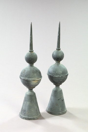 145: Pair of French Cast-Iron Spiked Gatepost Finials