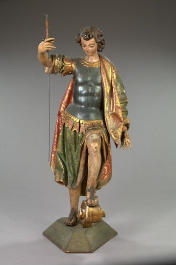 756: Spanish Colonial Polychromed Wood Figure