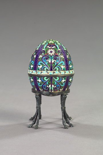 762: Russian Floral-Enameled Silver Two-Part Easter Egg
