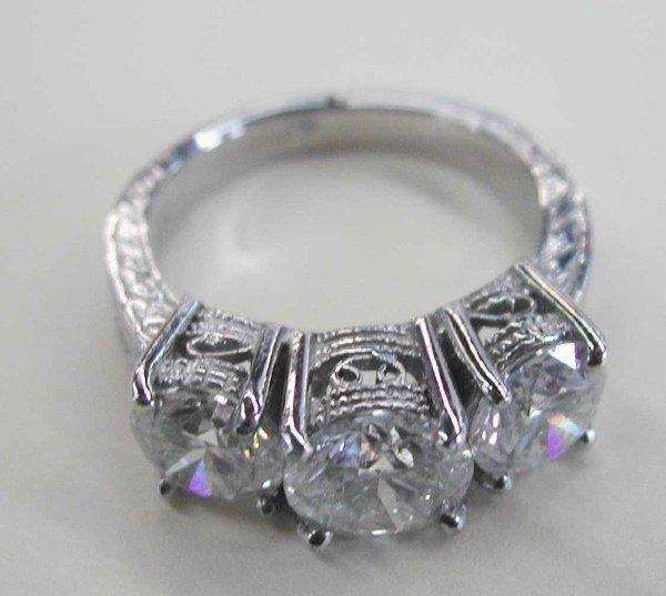 767: White Gold and Diamond Three-Stone Ring