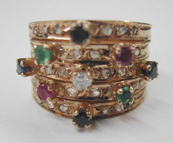 769: Yellow Gold and Gemstone Harem Ring