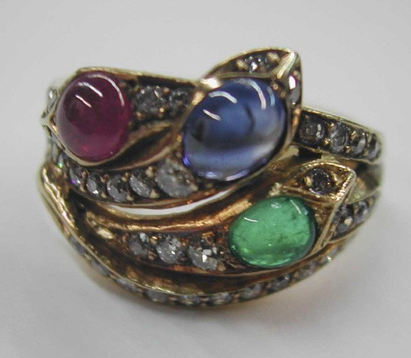 """770: Yellow Gold and Gemstone """"Serpent"""" Ring"""