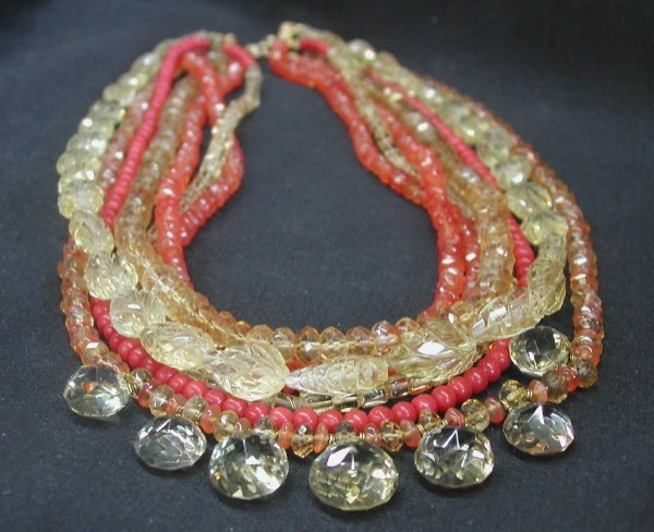 772: Carved and Faceted Gemstone Necklace
