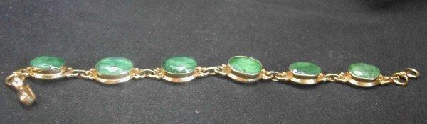 773: Vermeil and Emerald Link Bracelet,