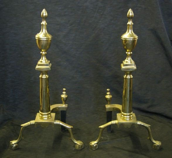 1281: American Gilt-Brass Ball-and-Claw-Footed Andirons