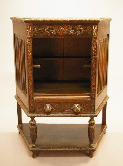 2: Jacobean-Style Carved Walnut Open Cabinet