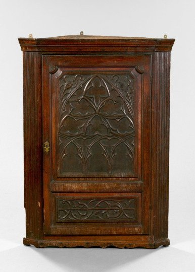 4: English Oak Hanging Corner Cabinet,
