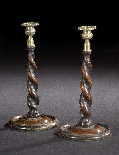5: Edwardian Carved Oak Candlesticks