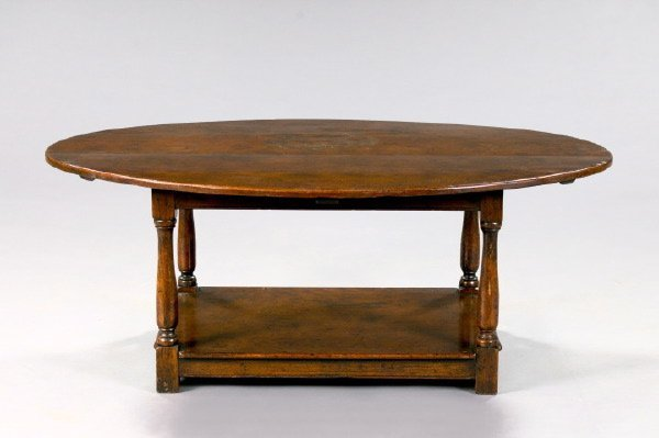 9: William and Mary-Style Oak Coffee Table,