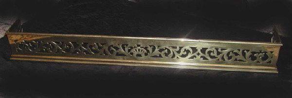 14: English Pierced Brass Low Fireplace Fender