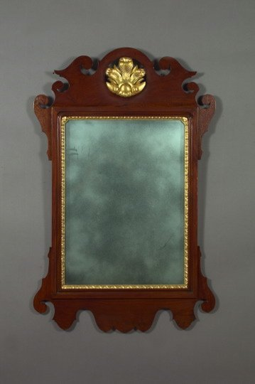 15: Edwardian Parcel-Gilt Mahogany Arched Mirror