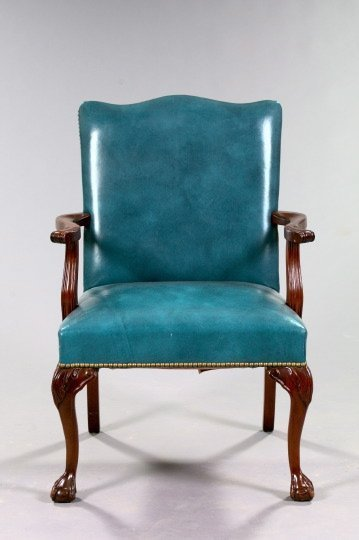 17: George III-Style Mahogany and Leather Chair
