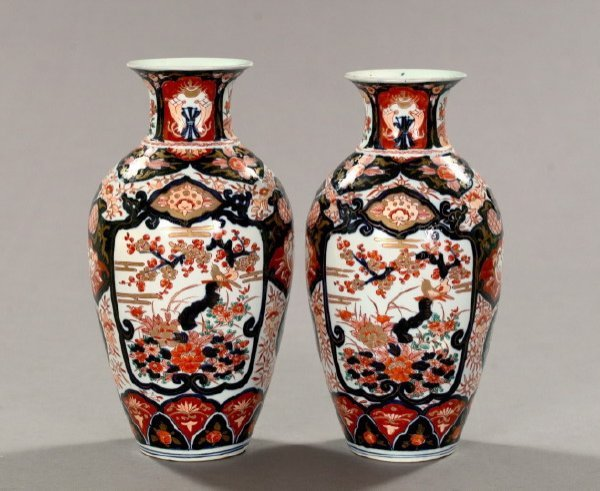 23: Pair of Japanese Meiji Imari Porcelain Vases,