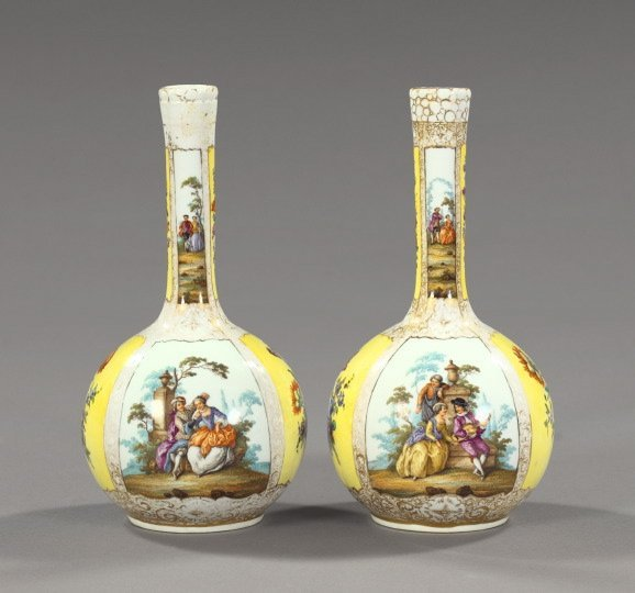 24: Dresden Porcelain Garniture Vases