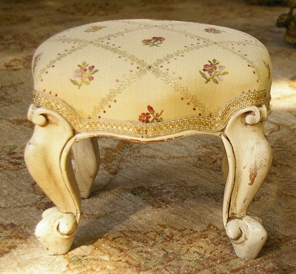 French Carved Beechwood Footstool