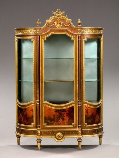 249: Louis XV-Style Mahogany and Parcel-Gilt Vitrine