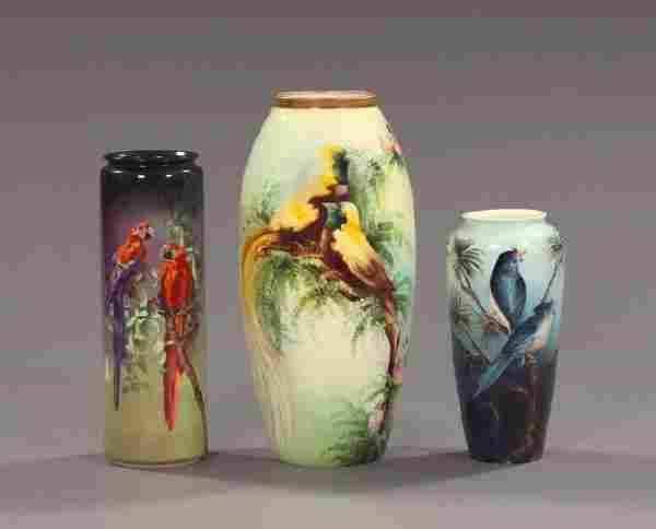 318: Hand-Painted American Belleek Porcelain Vases