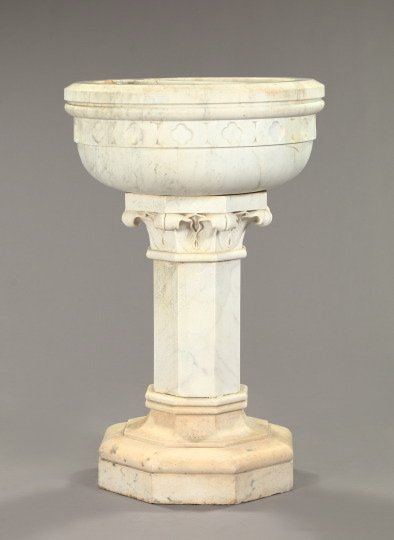 751: Turned and Carved White Marble Baptismal Font
