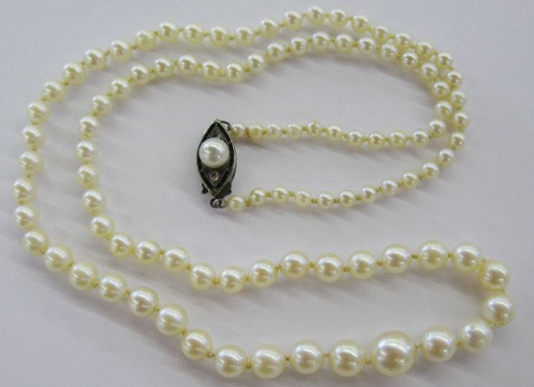 758: Single Strand of Graduated Cultured Pearls,