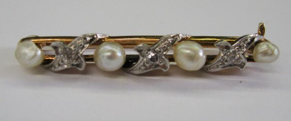 762: Yellow Gold, Pearl and Diamond Lingerie Pin