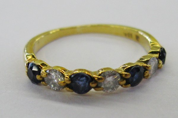 767: Yellow Gold, Sapphire and Diamond Band Ring