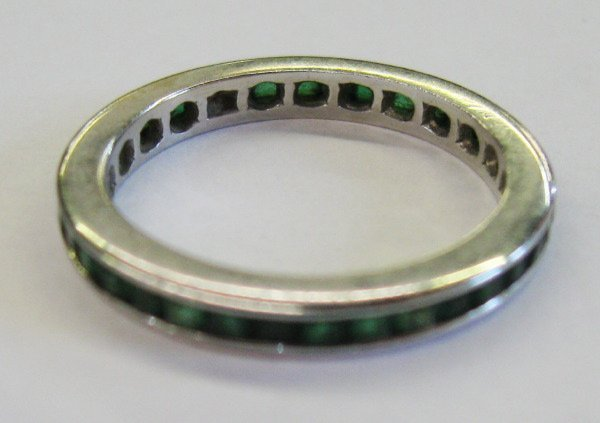 769: White Gold and Emerald Eternity Band