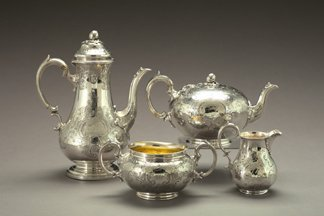 161: Good Cased Four-Piece English Sterling Silver Serv