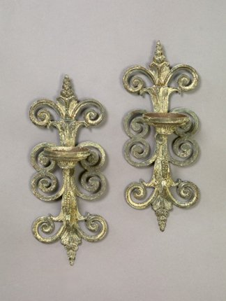 647A: Pair of Continental Scrolled Cast-Iron Sconces