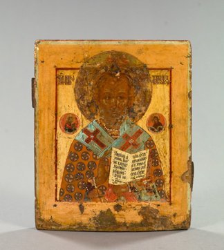 752: Russian Polychromed Wooden Ikon of a Saint,
