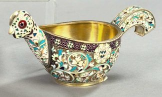 756: Russian Floral-Enameled Silver Kovsh,