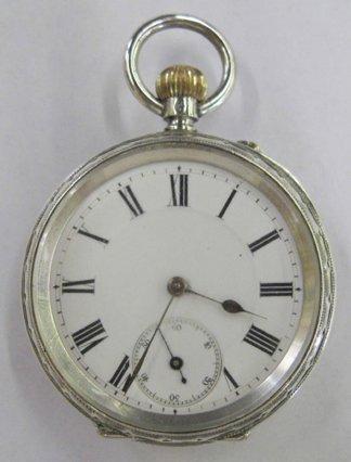763: Swiss .935 Silver Open Face Pocket Watch,
