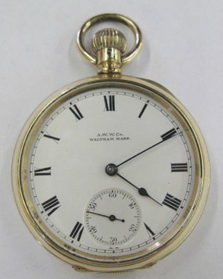 764: Waltham Rolled Gold Open-Faced Pocket Watch,
