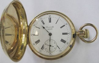765: Yellow Gold Perret & Sons Hunt Case Pocket Watch