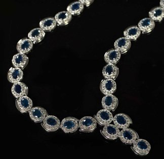 767: White Gold, Sapphire and Diamond Necklace
