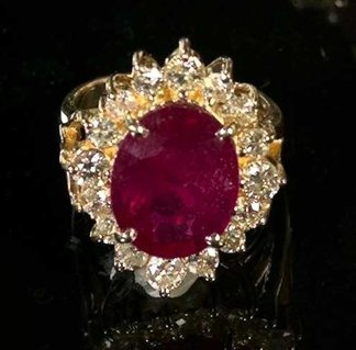 772: Yellow Gold, Ruby and Diamond Dinner Ring