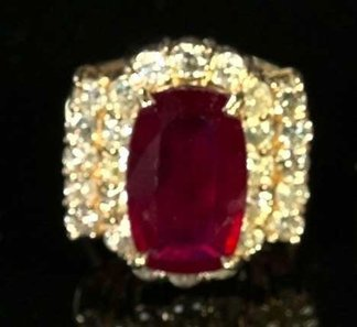 773: Yellow Gold, Ruby and Diamond Dinner Ring