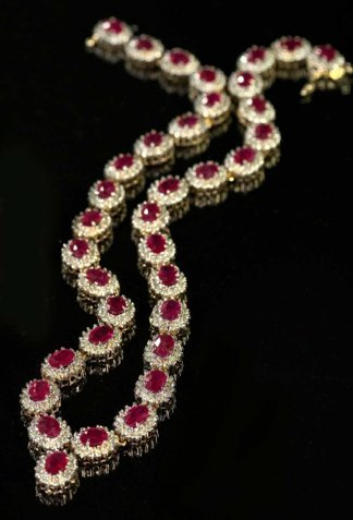 774: Yellow Gold, Ruby and Diamond Necklace