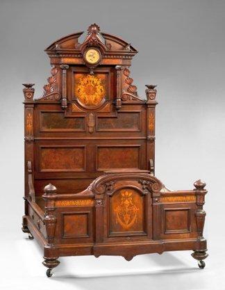1056: American Renaissance Revival Walnut Chamber Suite