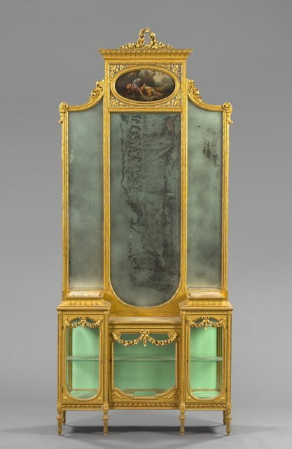 1: Louis XV-Style Carved and Giltwood Vitrine and Mirro