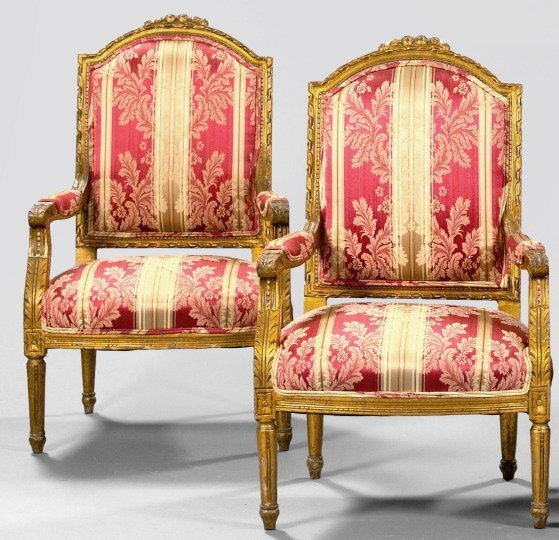 7: Pair of Louis XVI-Style Giltwood Fauteuils,