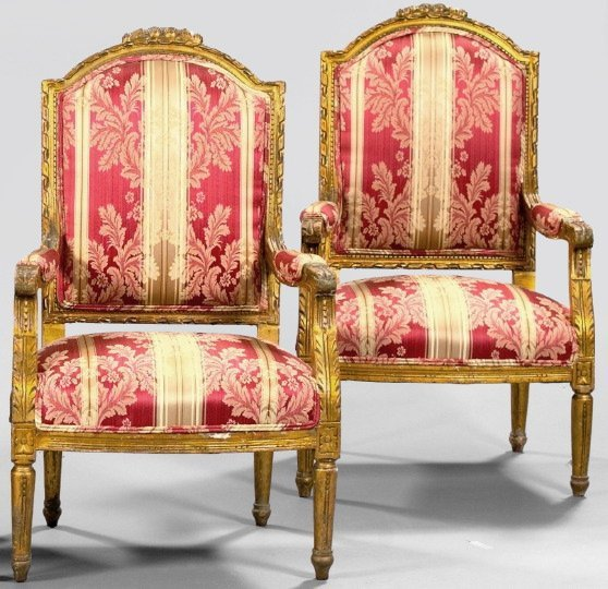 8: Pair of Louis XVI-Style Giltwood Fauteuils,
