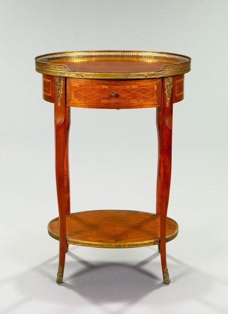 19: French Mixed Woods Parquetry Occasional Table