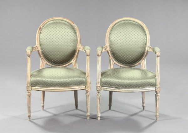 22: Louis XVI-Style Ivory-Painted Beechwood Armchairs