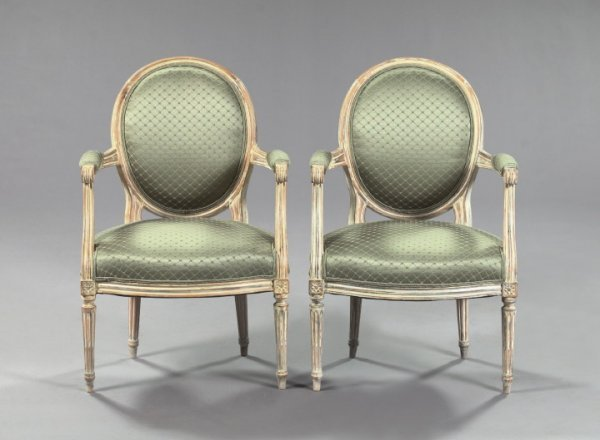 23: Louis XVI-Style Ivory-Painted Beechwood Armchairs